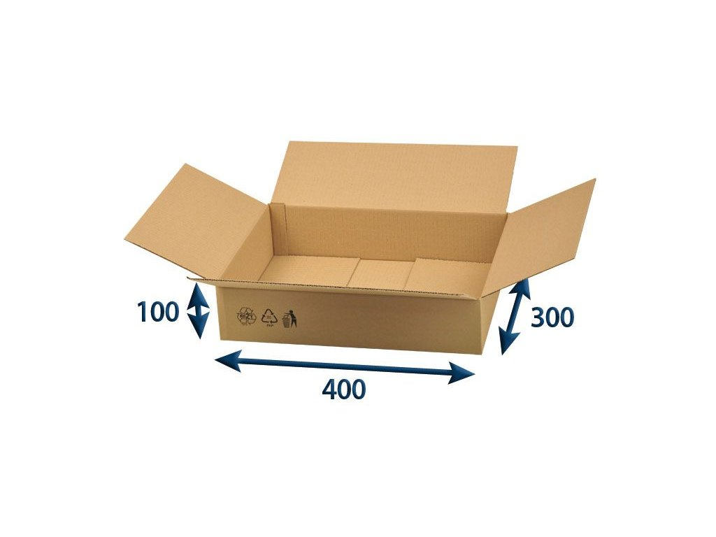 kartonova krabica 400 x 300 x 100 3vvl chlopnova