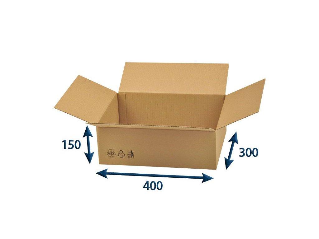 kartonova krabica 400 x 300 x 150 3vvl chlopnova