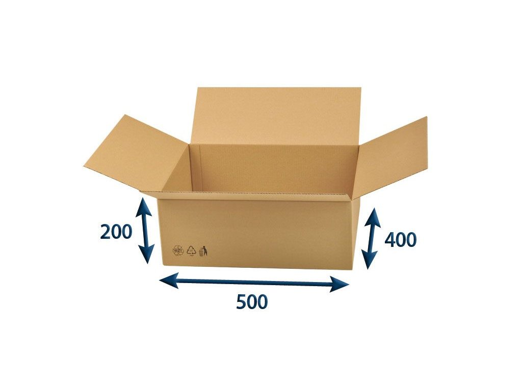 kartonova krabica 500 x 400 x 200 3vvl chlopnova