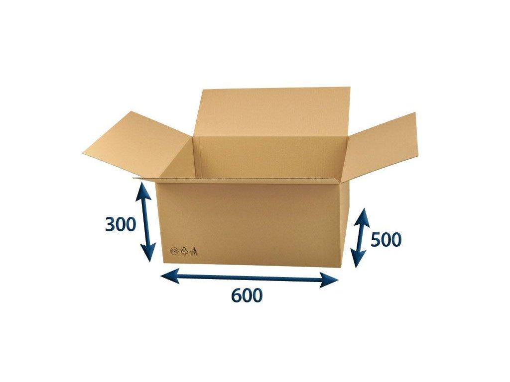 kartonova krabica 600 x 500 x 300 3vvl chlopnova