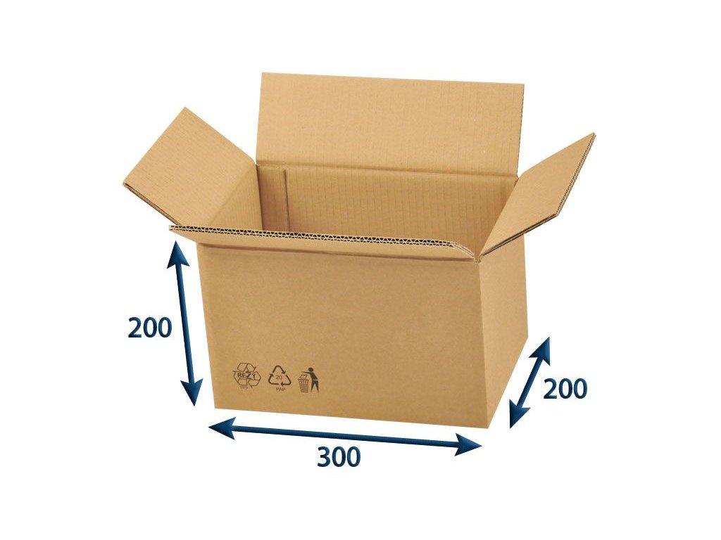 kartonova krabica 300 x 200 x 200 5vvl chlopnova