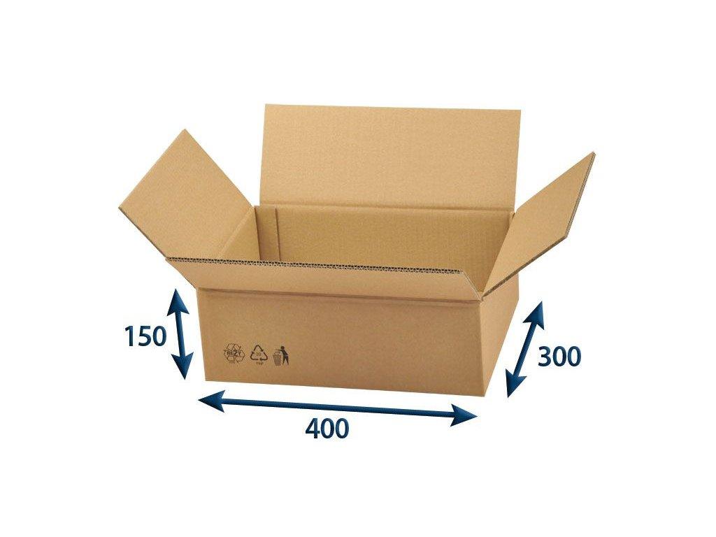 kartonova krabica 400 x 300 x 150 5vvl chlopnova