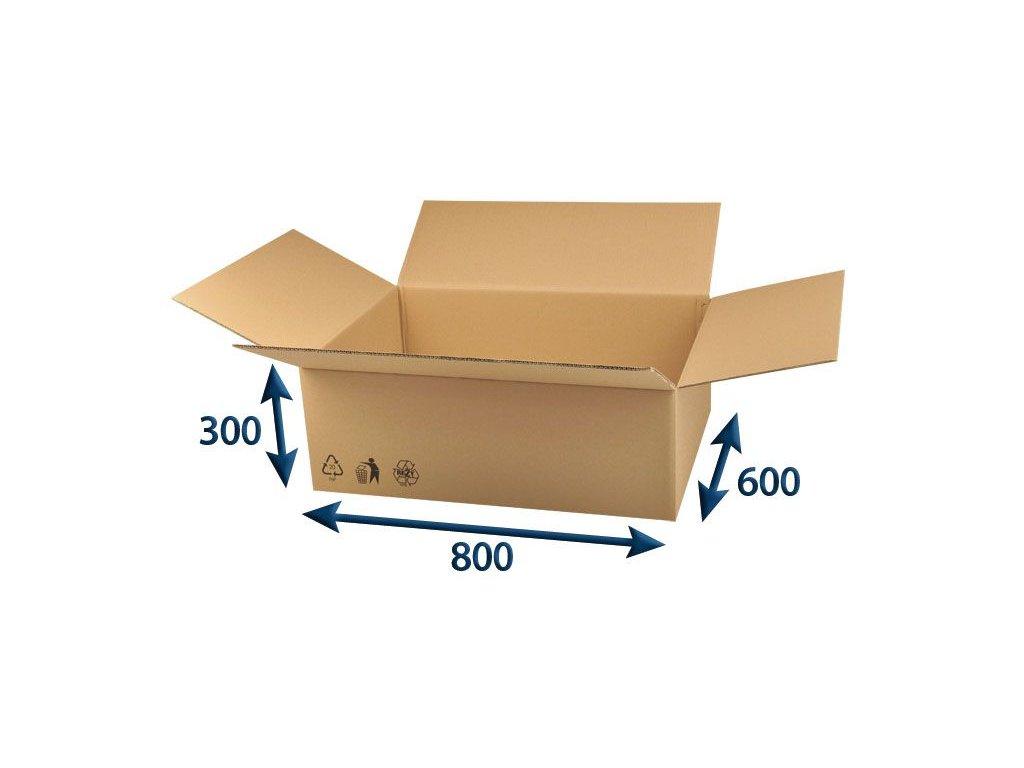 kartonova krabica 800 x 600 x 300 5vvl chlopnova