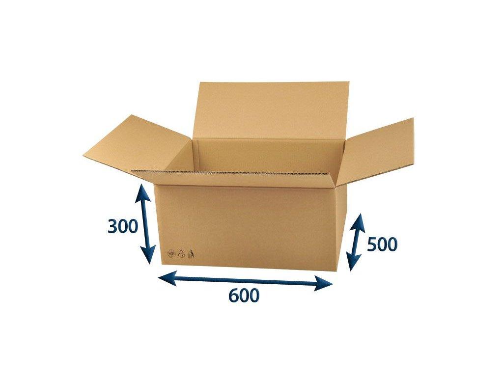 kartonova krabica 600 x 500 x 300 5vvl chlopnova