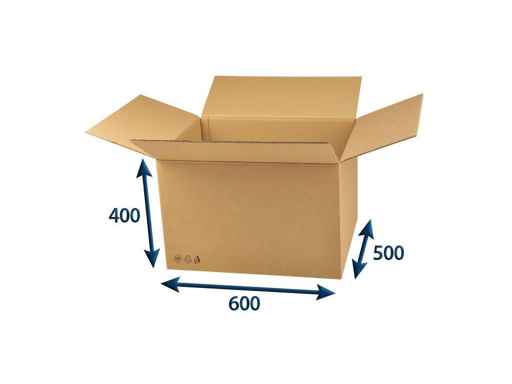 kartonova krabica 600 x 500 x 400 5vvl chlopnova