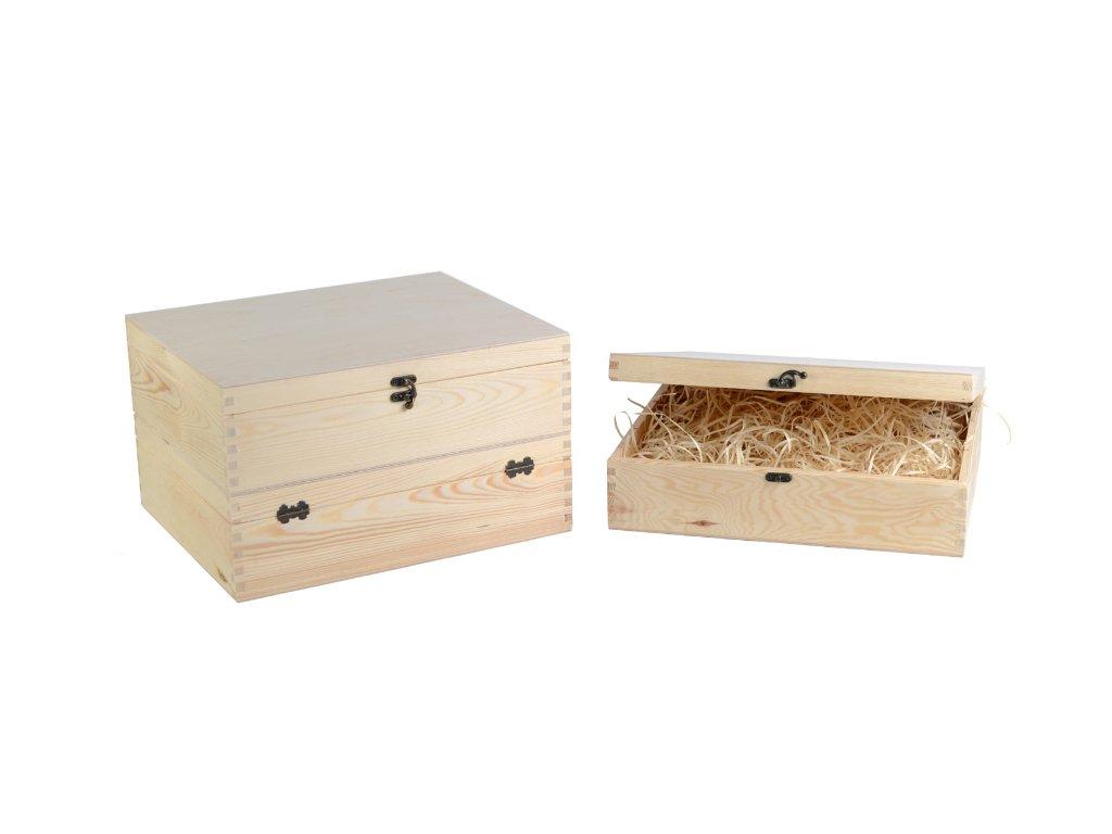 drevena krabicka na vino 3 zatvaracia natur drevena vlna