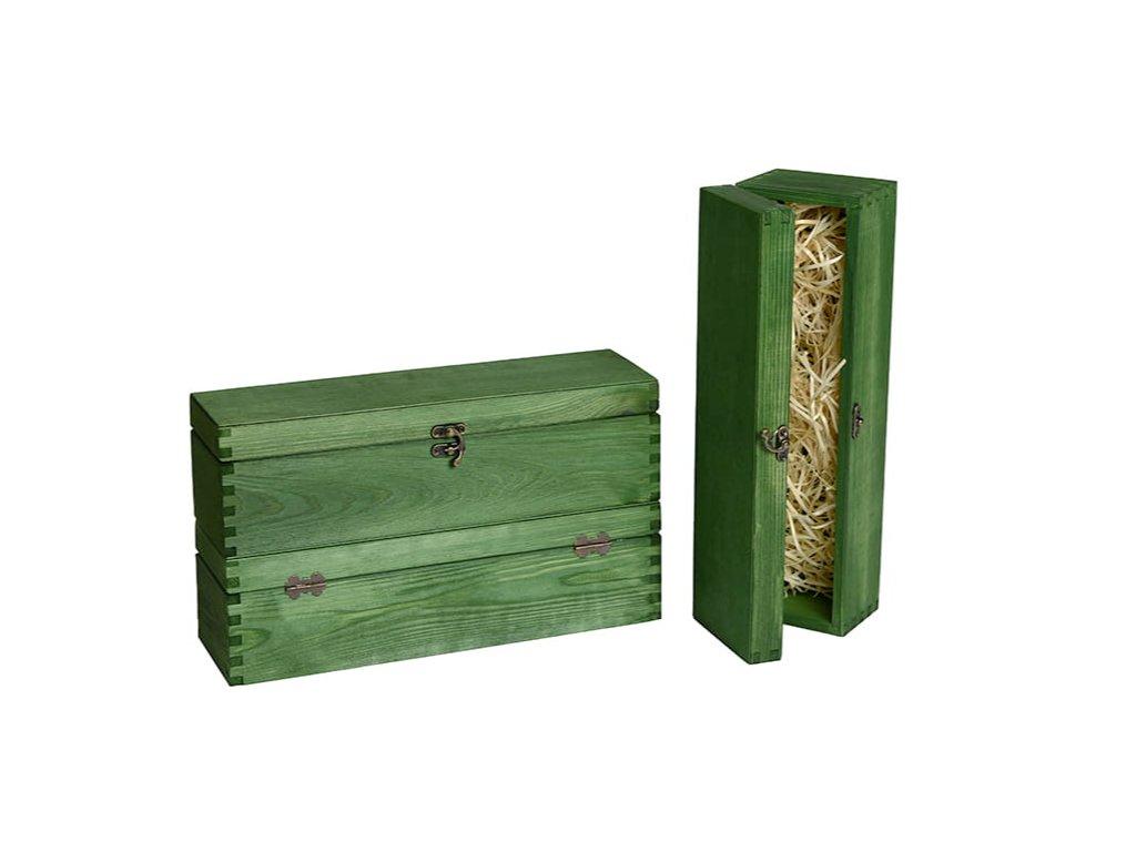 drevena krabicka na vino zatvaracia vlna zelena VK 1 15 W