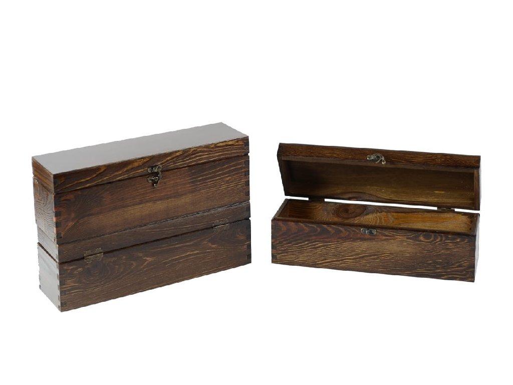 drevena krabicka na 1 vino zatvaracia orechova lakovana VK 1 12L