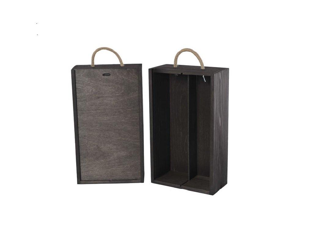 drevena krabicka na 2 vina vysuvna cierna V 2 17
