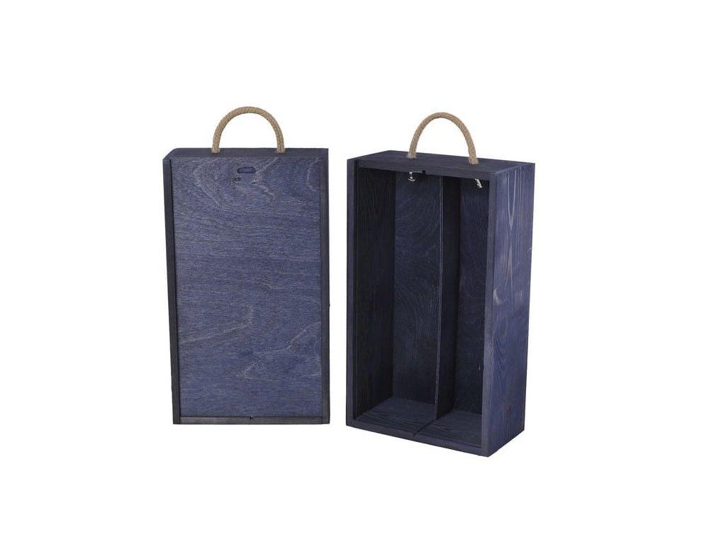drevena krabicka na 2 vina vysuvna modra V 2 18