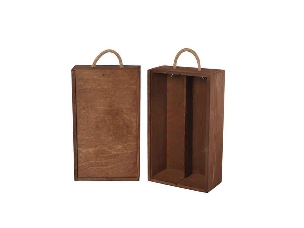 drevena krabicka na 2 vina vysuvna hnedá V 2 14
