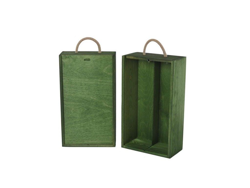 drevena krabicka na 2 vina vysuvna zelena V 2 15