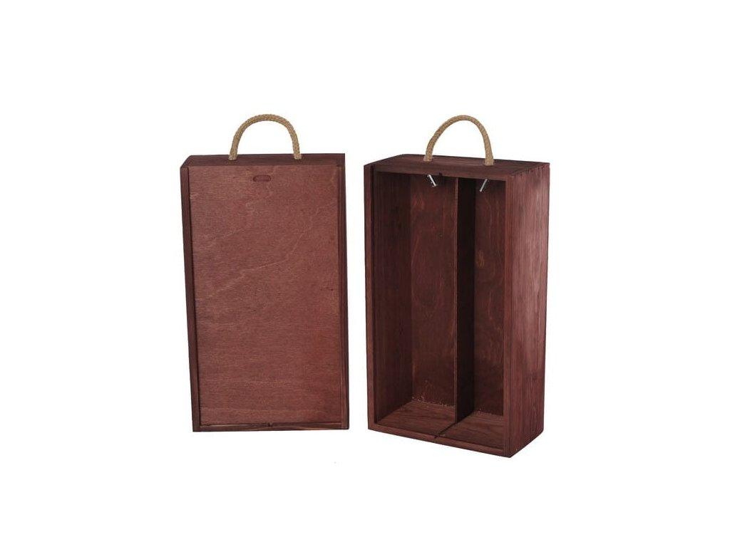 drevena krabicka na 2 vina vysuvna mahagonova V 2 11