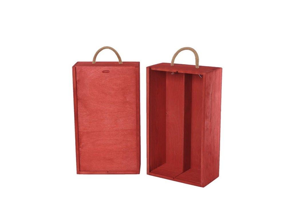drevena krabicka na 2 vina vysuvna cervena V 2 19