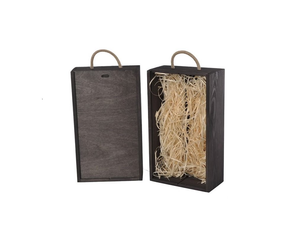 drevena krabicka na 2 vina vysuvna cierna vypln drevena vlna V 2 17 W