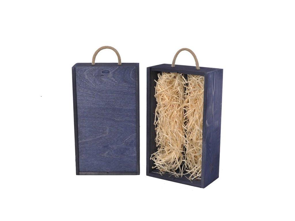 drevena krabicka na 2 vina vysuvna modra vypln drevena vlna V 2 18 W