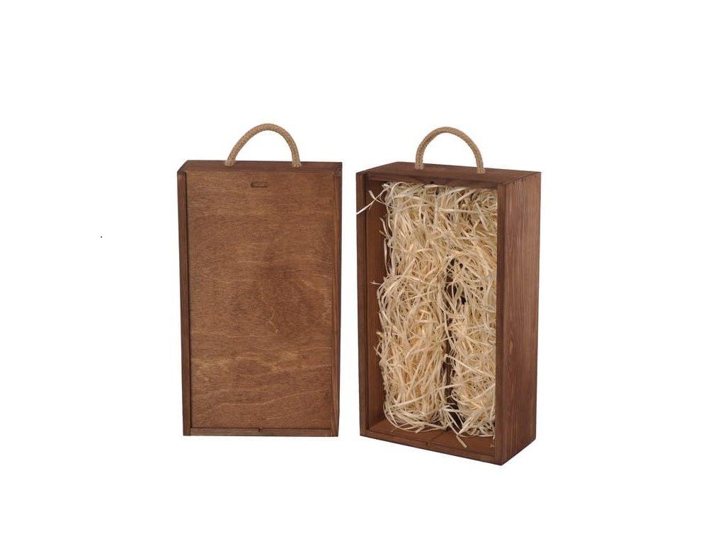 drevena krabicka na 2 vina vysuvna hneda vypln drevena vlna V 2 14 W