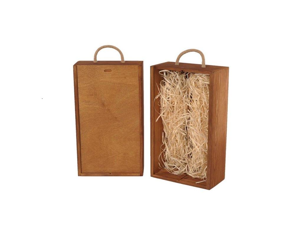 drevena krabicka na 2 vina vysuvna zazvor vypln drevena vlna V 2 16 W