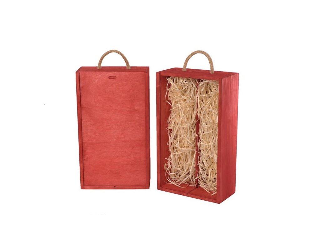 drevena krabicka na 2 vina vysuvna cervena vypln drevena vlna V 2 19 W