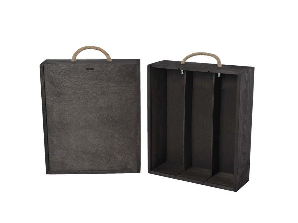 drevena krabicka na 3 vina vysuvna cierna V 3 17