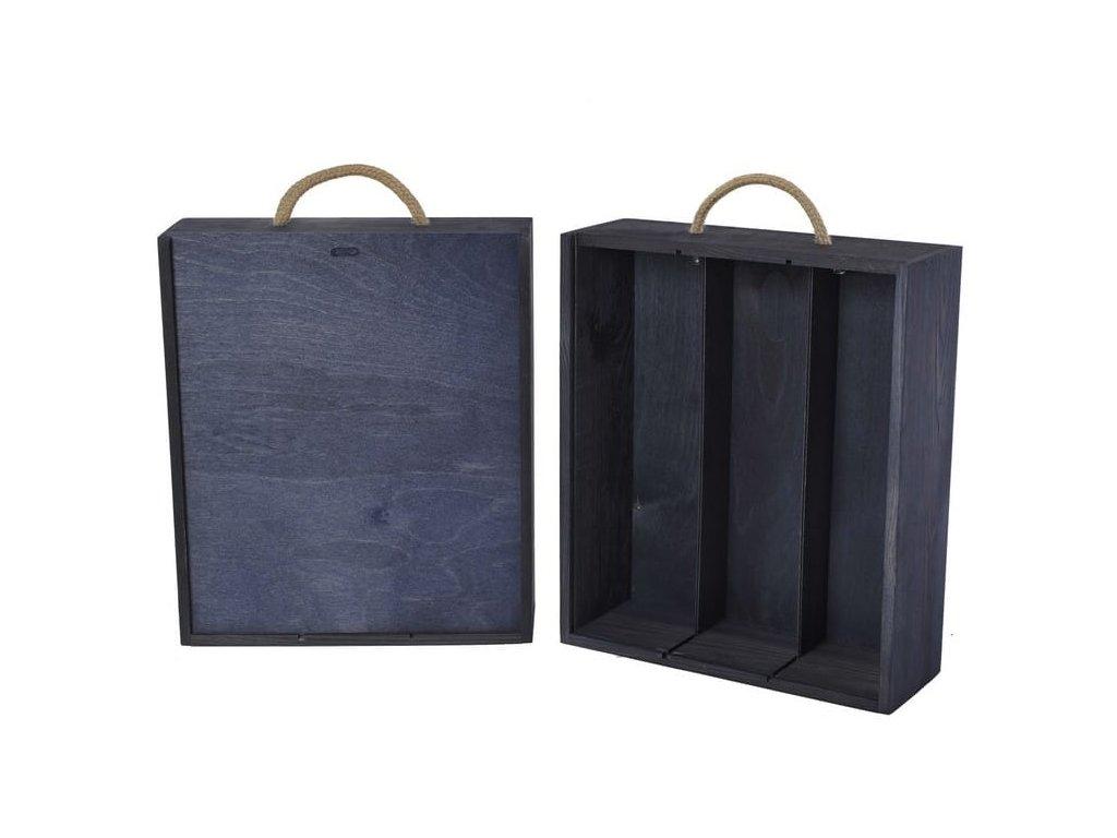 drevena krabicka na 3 vina vysuvna modra V 3 18