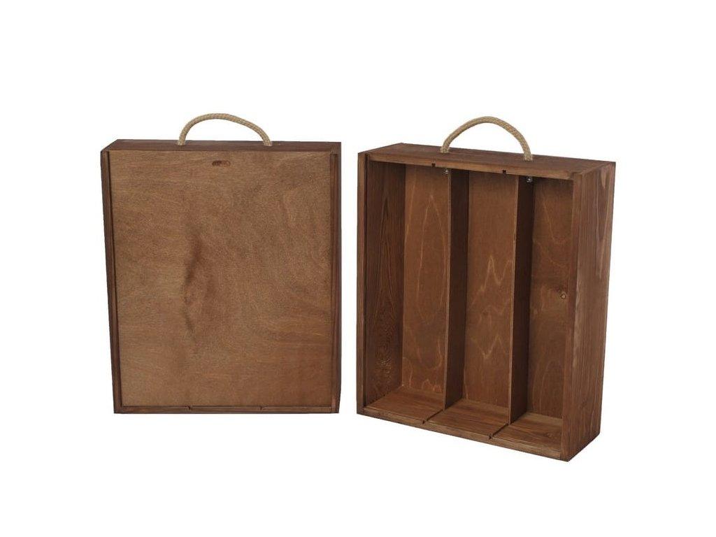 drevena krabicka na 3 vina vysuvna hneda V 3 14