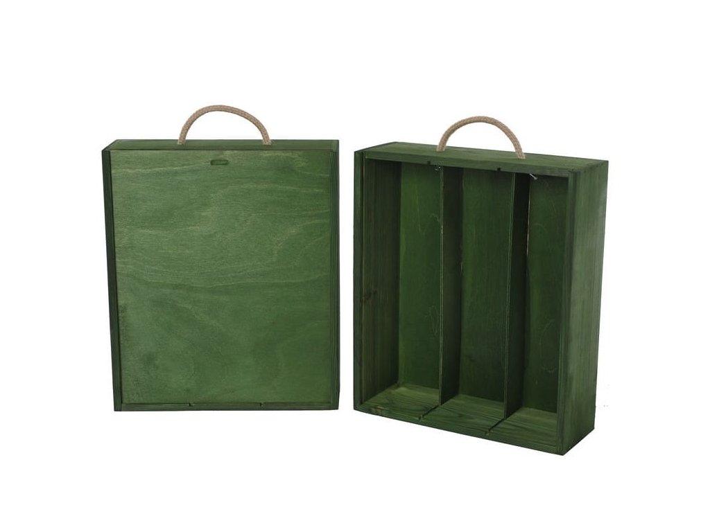 drevena krabicka na 3 vina vysuvna zelena V 3 15