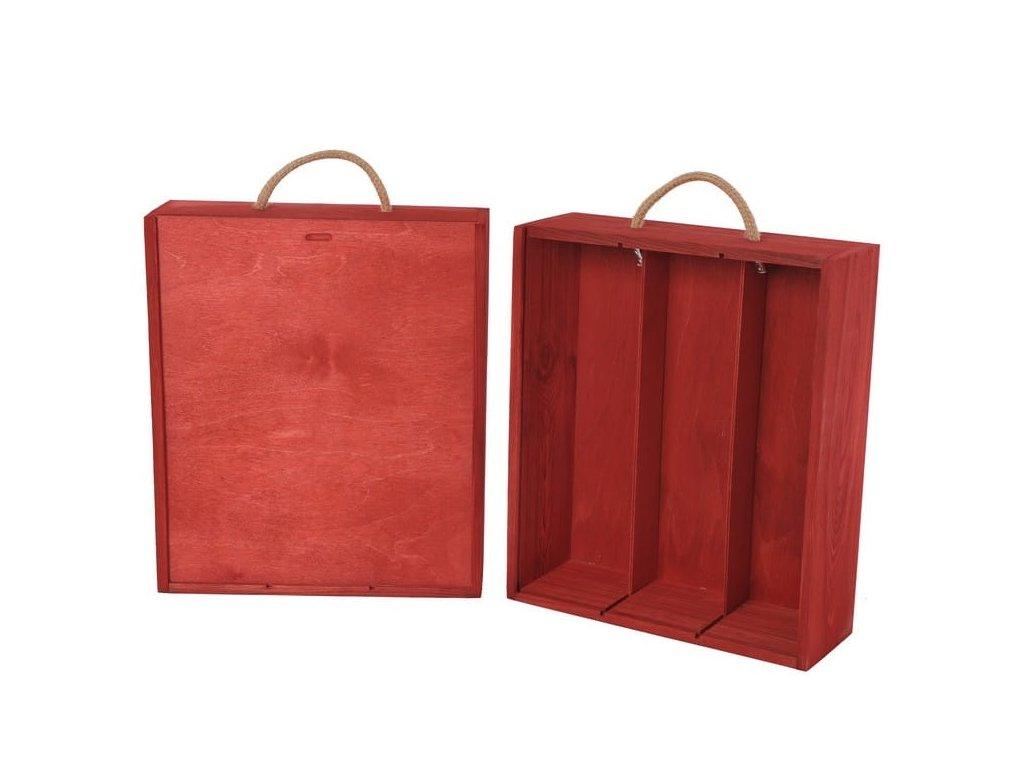drevena krabicka na 3 vina vysuvna cervena V 3 19