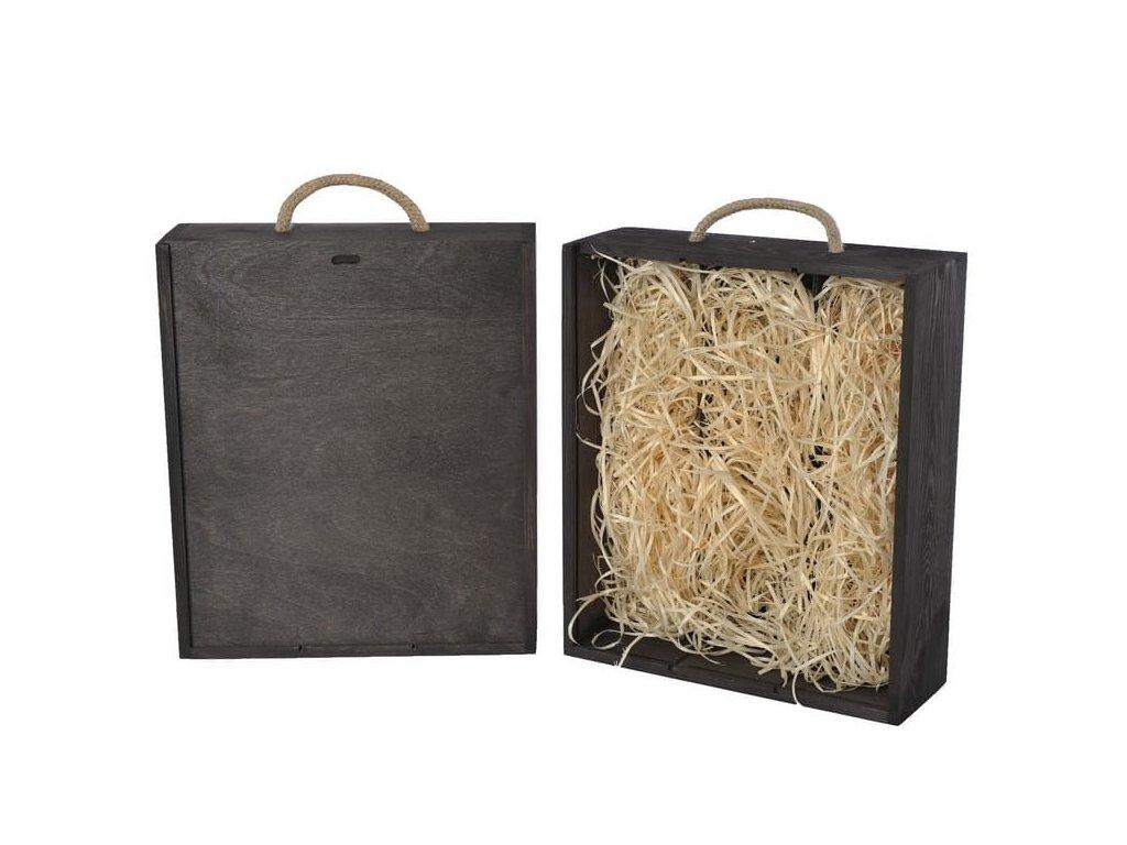 drevena krabicka na 3 vina vysuvna cierna vypln drevena vlna V 3 17 W