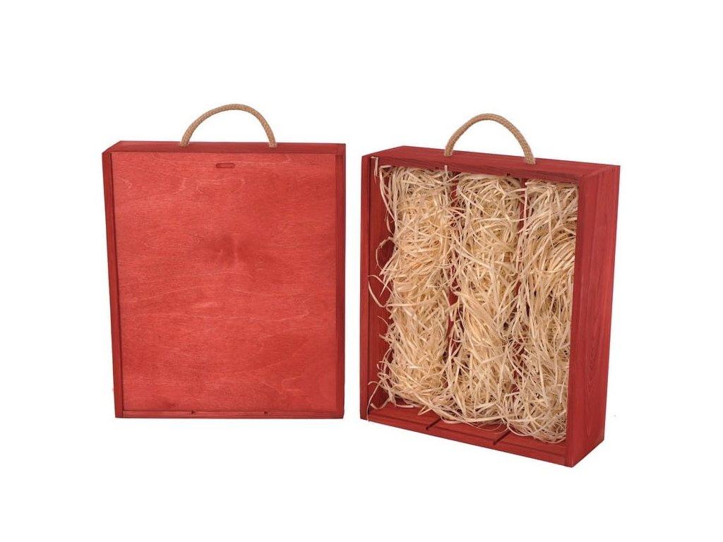 drevena krabicka na 3 vina vysuvna cervena vypln drevena vlna V 3 19 W