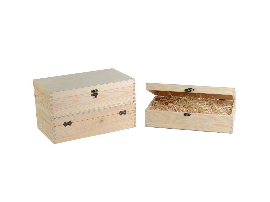 drevena krabicka na vino 2 zatvaracia vypln drevena vlna