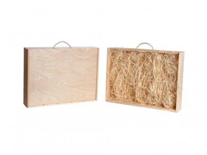 drevena krabicka na vino 5 zasuvna vypln drevena vlna