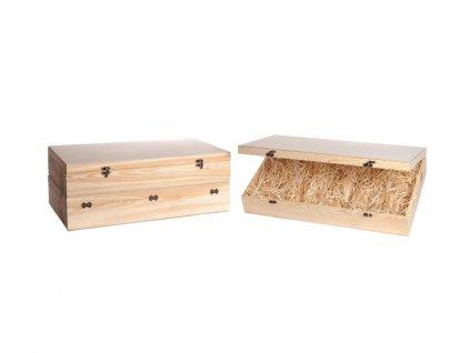 drevena krabicka na vino 6 zatvaracia vypln drevena vlna