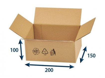 kartonova krabica 200 x 150 x 100 3vvl chlopnova