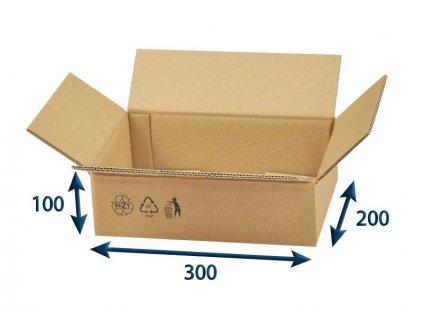 kartonova krabica 300 x 200 x 100 5vvl chlopnova