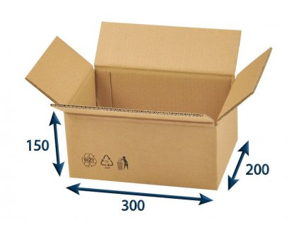 kartonova krabica 300 x 200 x 150 5vvl chlopnova
