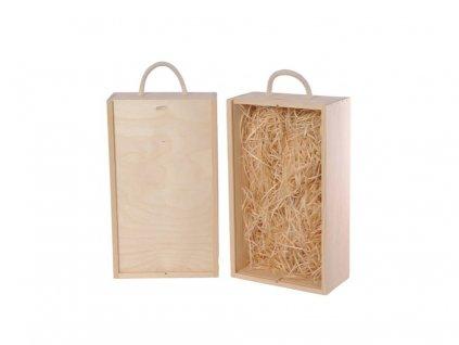 drevena krabicka na vino 2 zasuvna vypln drevena vlna