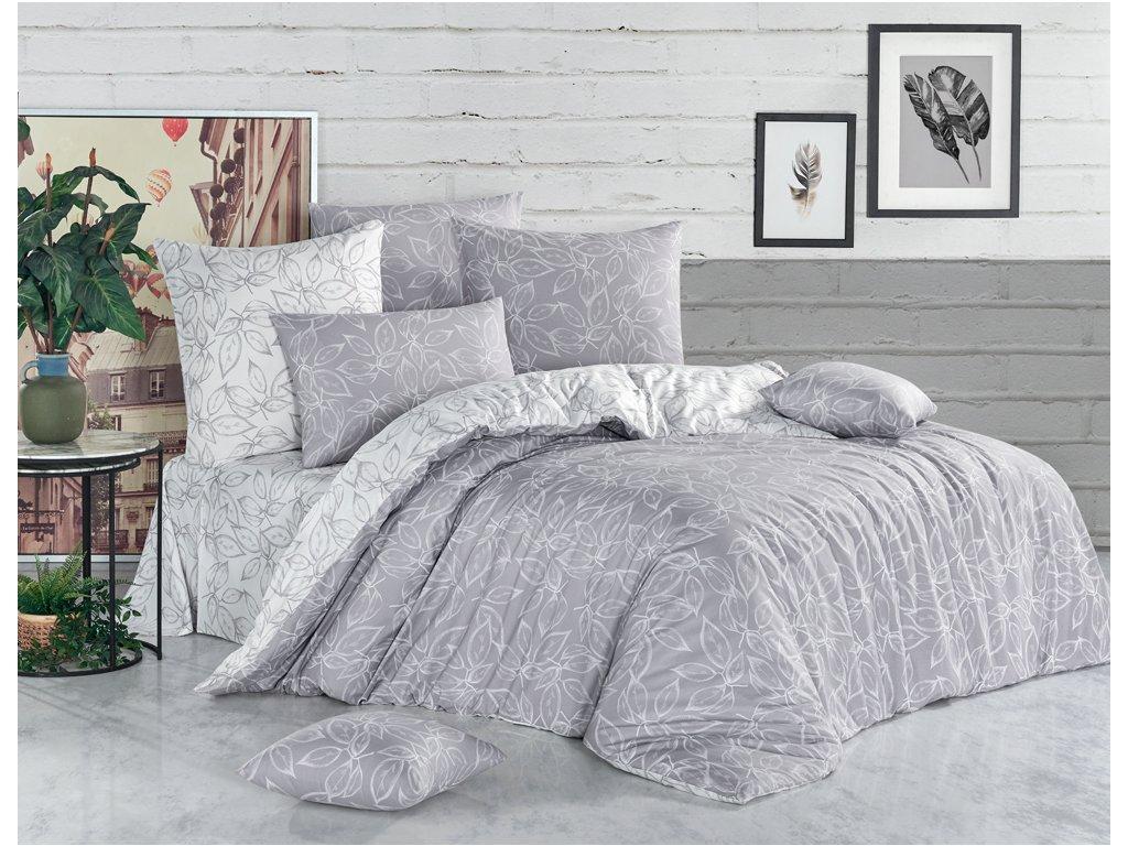 Bavlněné povlečení Flores Stříbrné Velikost: 220x200 + 2x 70x90 cm