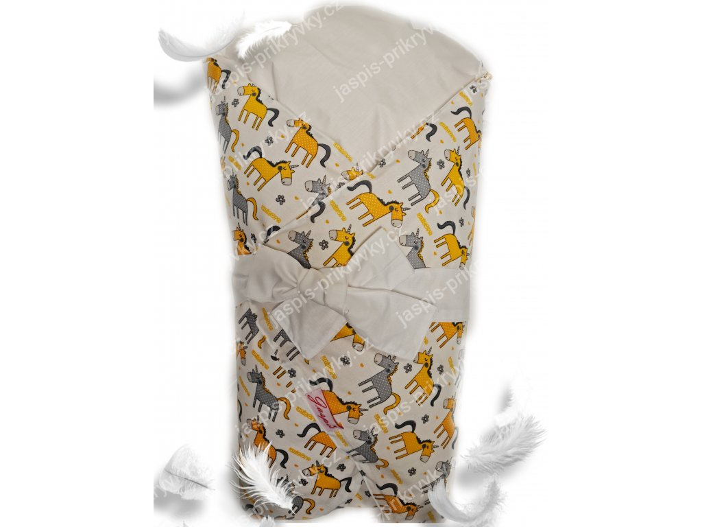 Dětská peřová zavinovačka - žlutý koník