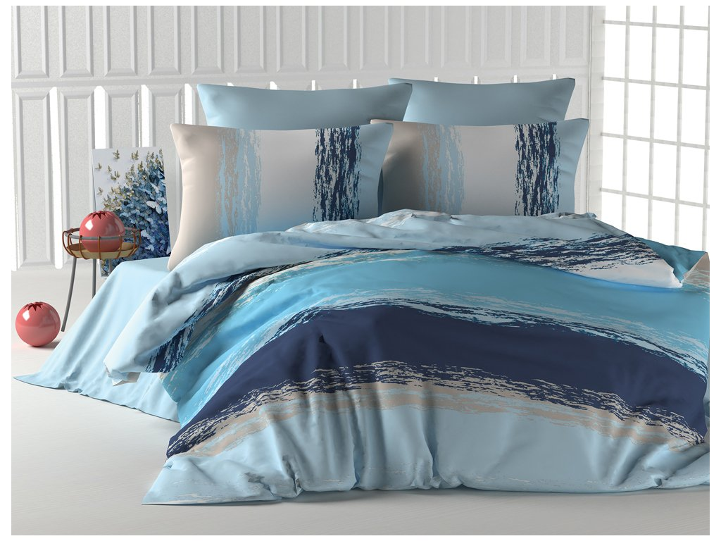 Bavlněné povlečení Thick Line Modré Velikost: 220x200 + 2x 70x90 cm