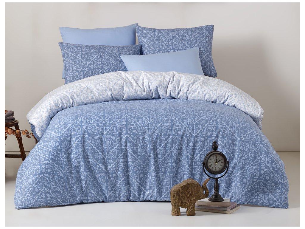 Bavlněné povlečení Vira Modré Velikost: 140x220 + 70x90 cm