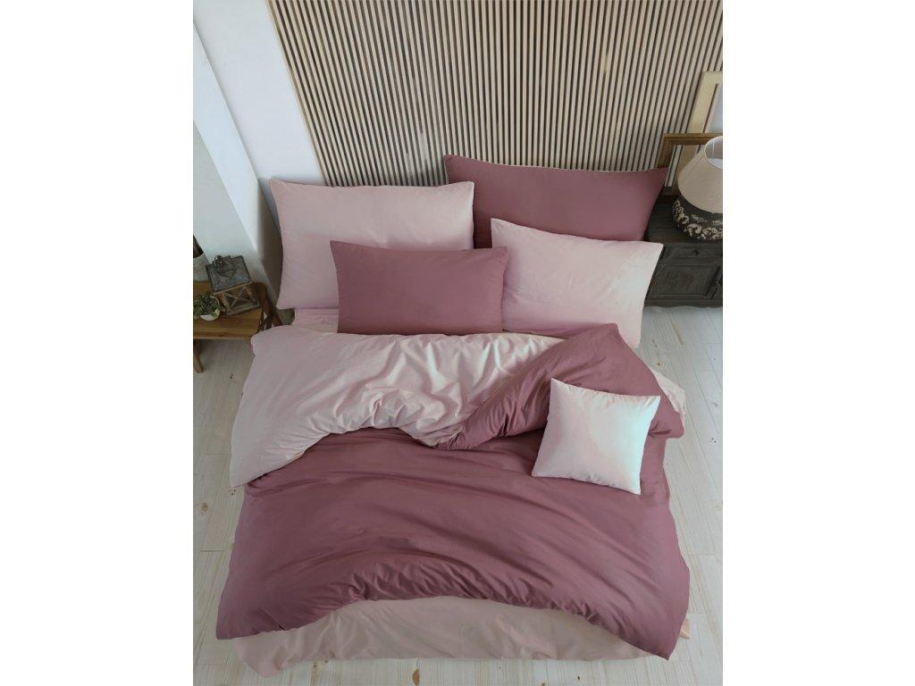 Bavlněné povlečení Color Starorůžovo Růžové Velikost: 220x200 + 2x 70x90 cm