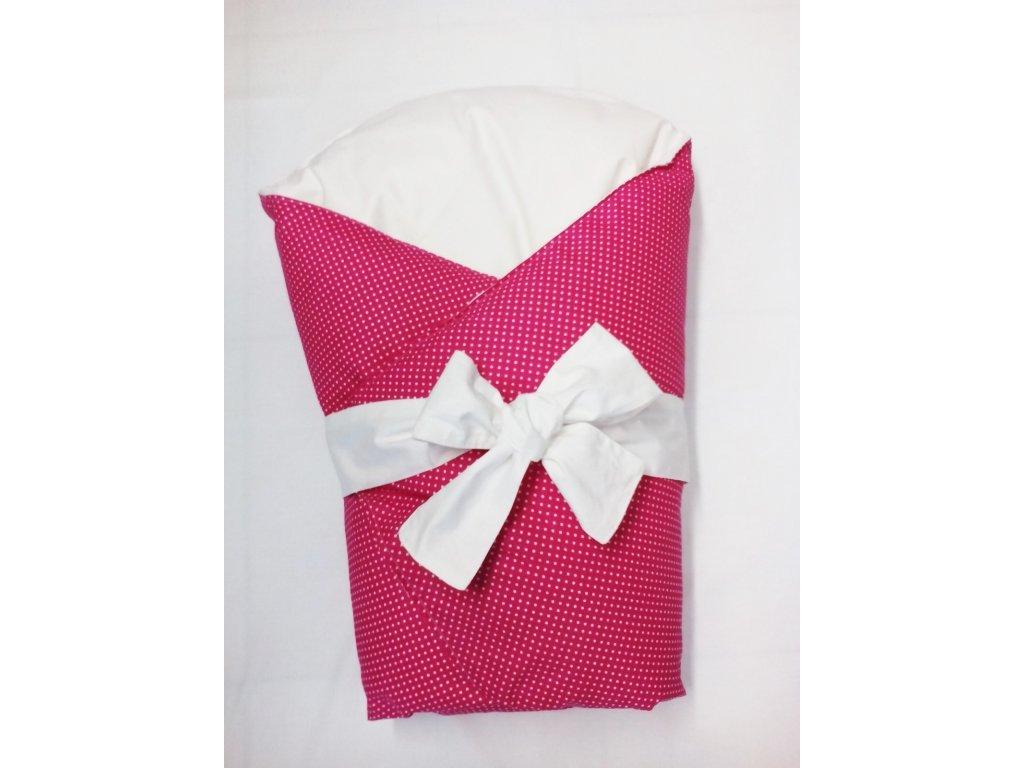 Dětská peřová zavinovačka růžový puntík -bílá