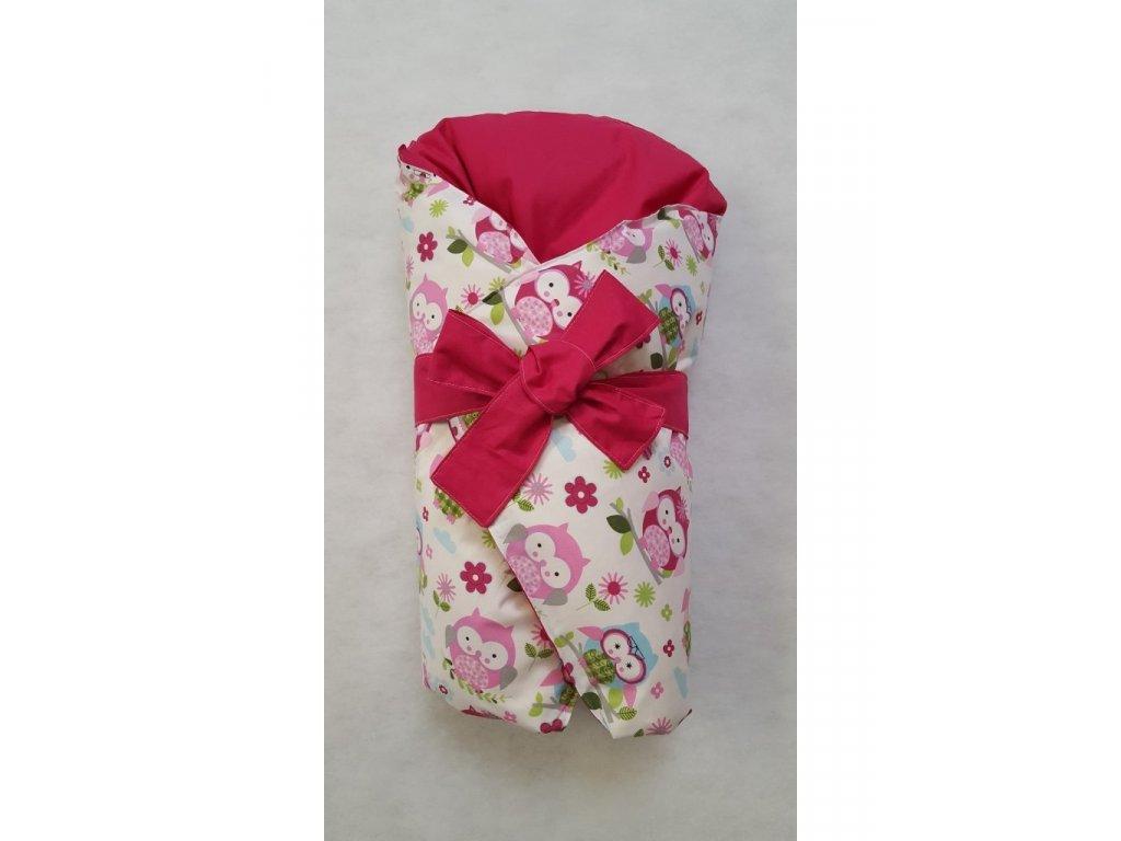 Dětská peřová zavinovačka růžové sovy-růžová