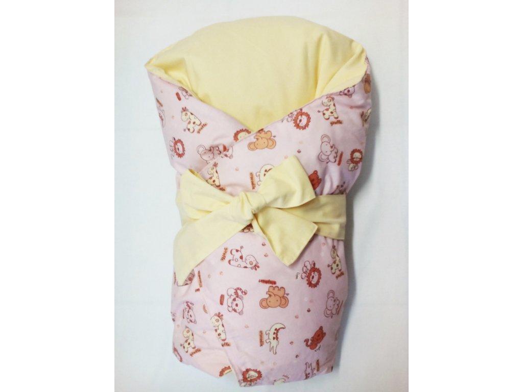 Dětská peřová zavinovačka růžové růžovo - žluté zvířatka
