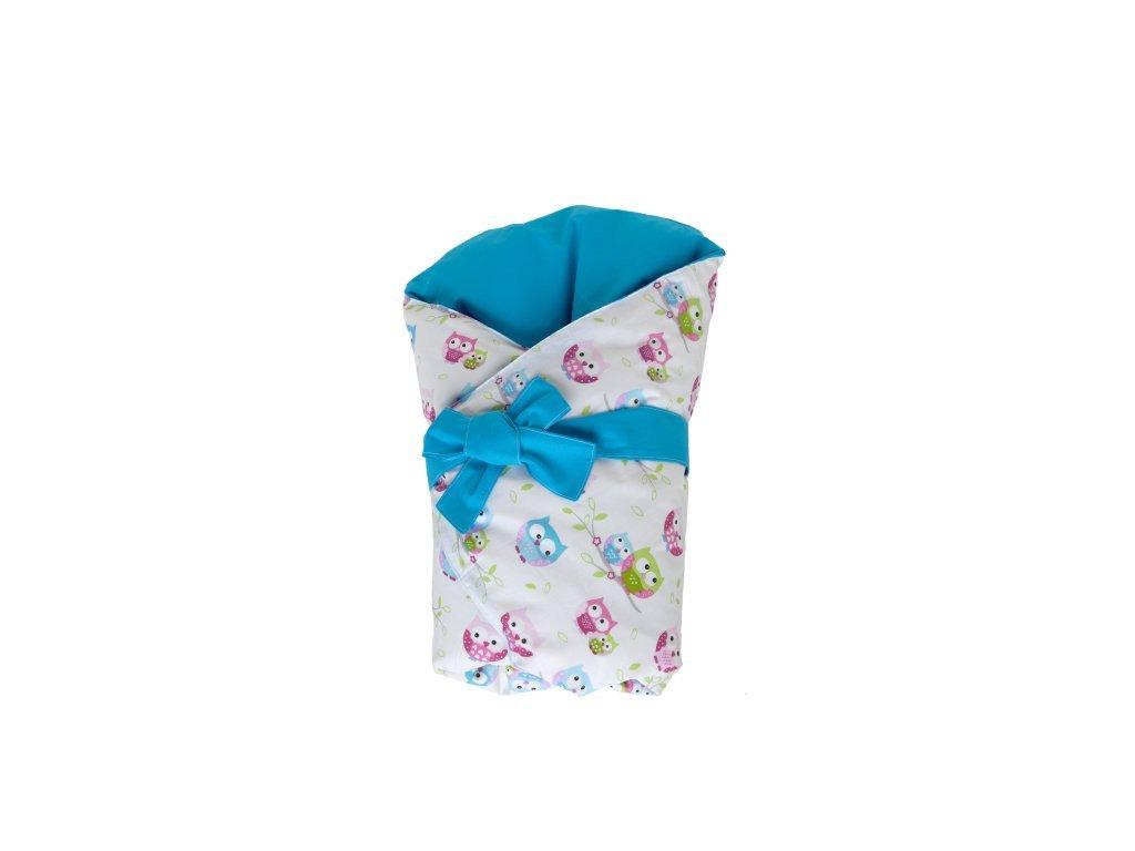 Dětská peřová zavinovačka sovičky-modrá