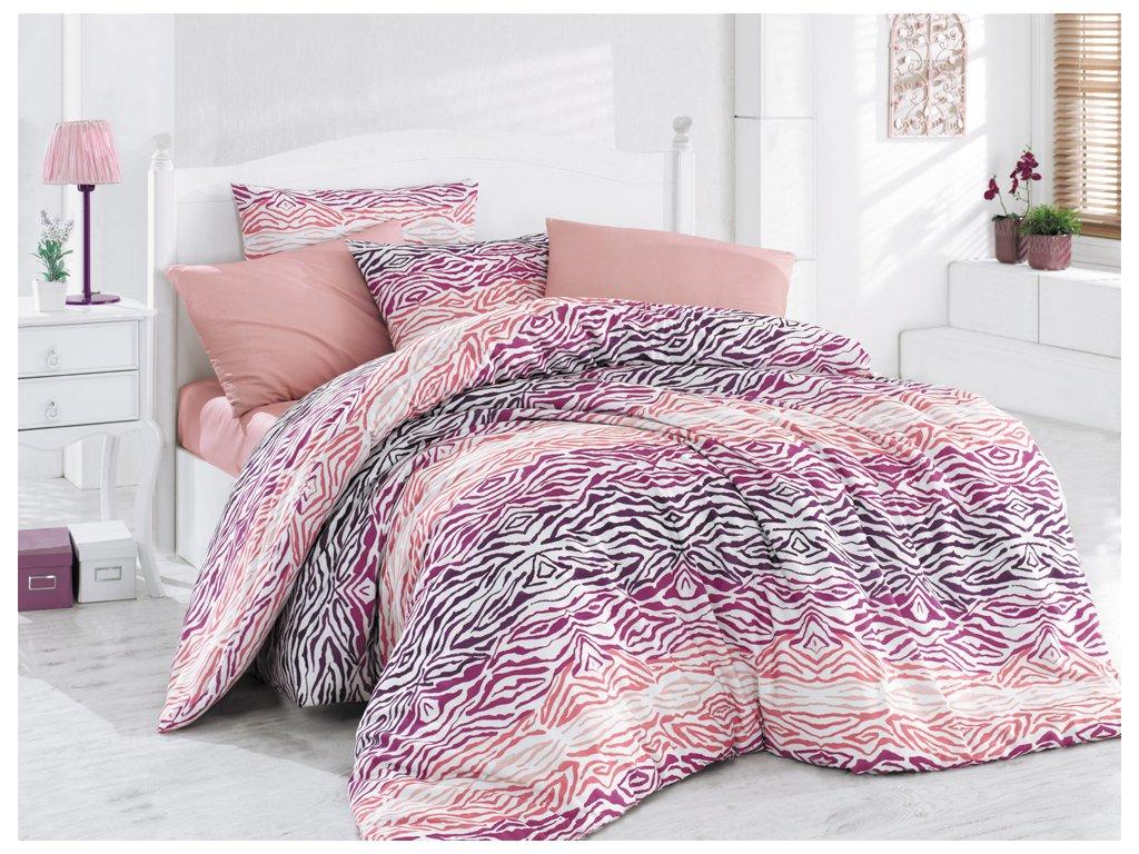 Bavlněné povlečení Gravír Růžové Velikost: 220x200 + 2x 70x90 cm
