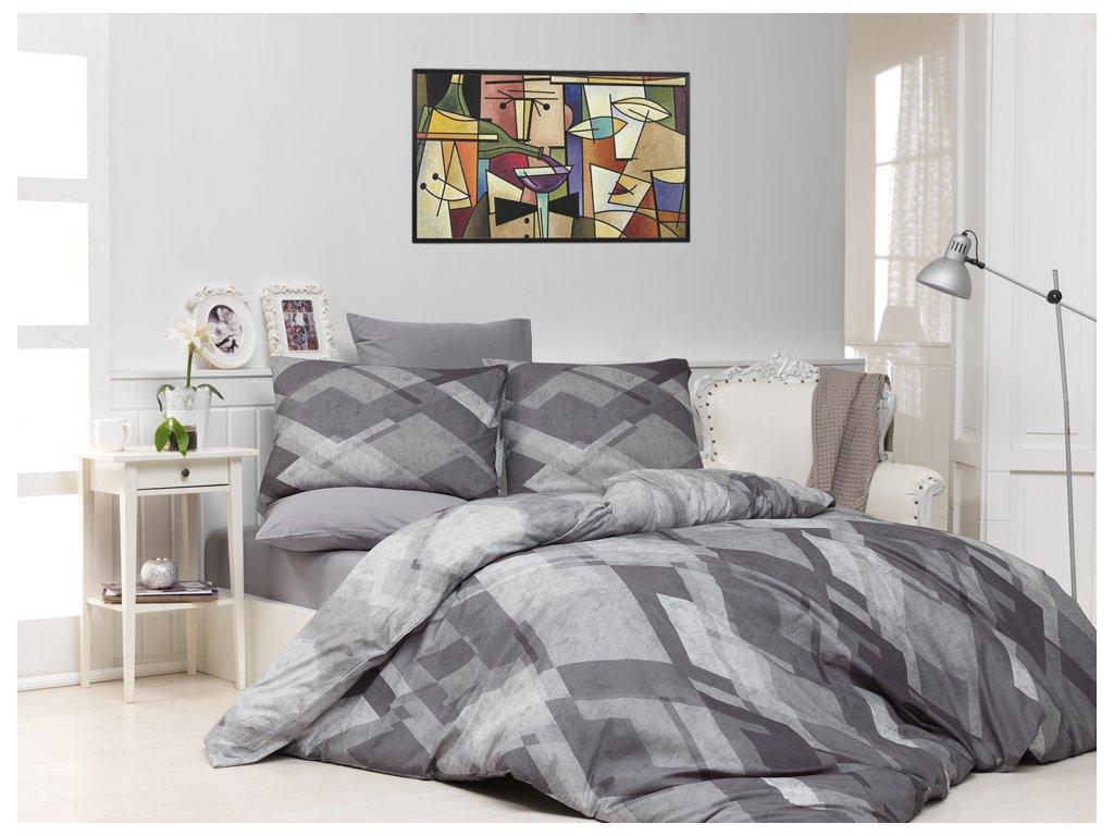 Bavlněné povlečení Mosaic Šedé Velikost: 140x220 + 70x90 cm