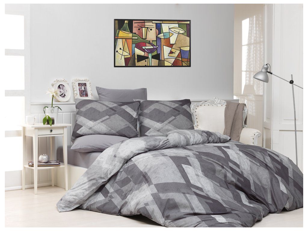 Bavlněné povlečení Mosaic Šedé Velikost: 220x200 + 2x 70x90 cm
