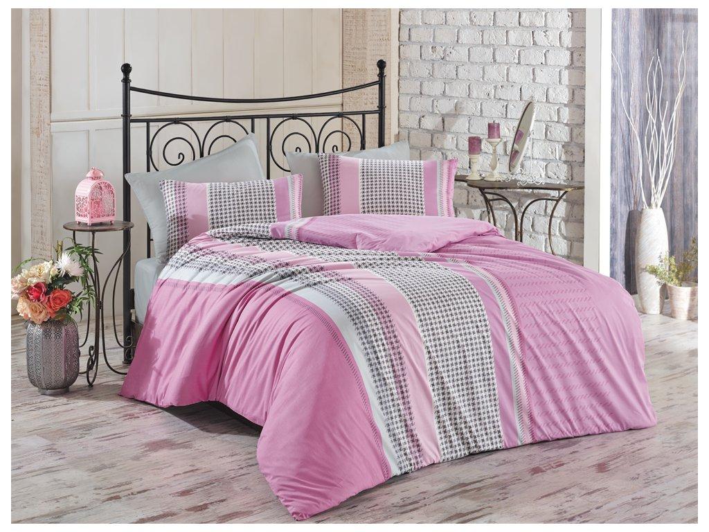 Bavlněné povlečení Pelin Růžové Velikost: 220x200 + 2x 70x90 cm